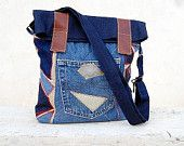 Denim Messenger Bag, Backpack. Denim Patchwork Bag, Book Bag, City Bag. Ready to Ship,Single Copy.