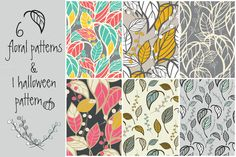 6 floral patterns & 1 Halloween by Blue Lela Illustrations on Creative Market