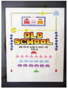 Old school sampler by fuzzington on Craftster I want one :) all the old school is cool
