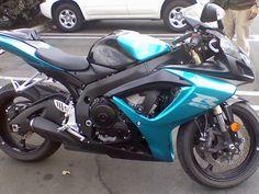 =P Teal motorcycle 2007 GSXR 600 Ducati Motorcycles, Suzuki Motorcycle, Moto Bike, Motorcycle Gear, Custom Bike Helmets, Custom Sport Bikes, Dirt Bikes For Kids, Gsxr 600, Super Bikes