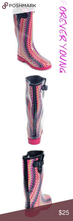 """Women Faux Fur Lined Rainboots, #1525, Zigzag Brand new glossy woman tall faux fur lined rainboots by Forever Young. Striking pattern, super warm lining, removable sole. Posh buckle on the calf side. Approx 14"""" tall & approx 15"""" in circumference. 100% rubber rain boot!!! Taller than galoshes and protect your feet better while you garden or just walk in the fall or winter rain. Not made for wide calves. Run half a size larger than regular shoes. A true statement in ladies fashion! Forever…"""