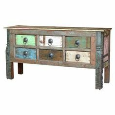 """Six-drawer reclaimed wood console with multicolored detailing.  Product: Console tableConstruction Material: Reclaimed woodColor: MultiFeatures: Six drawersDimensions: 32.5"""" H x 64"""" W x 17.5"""" D"""
