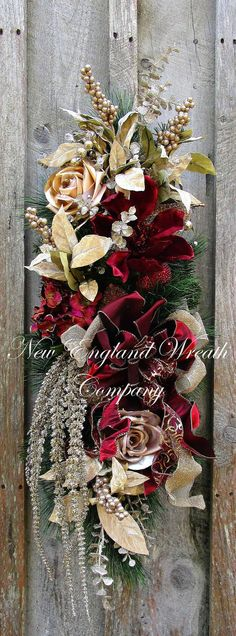 Christmas Swag, Holiday Wreath, Victorian Christmas Swag, Designer Christmas Swag, Jeweled Fruit, Elegant Holiday Swag, Williamsburg Holiday Lenox Grand Holiday Swag. A gorgeous Hydrangea and Magnolia in opulent velvet burgundy mingle with beige and taupe satin/glittered roses and