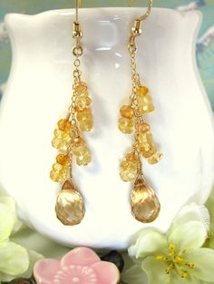 Sun Kissed Mystic Quartz Citrine Dangle Earrings by KBlossoms, $55.00