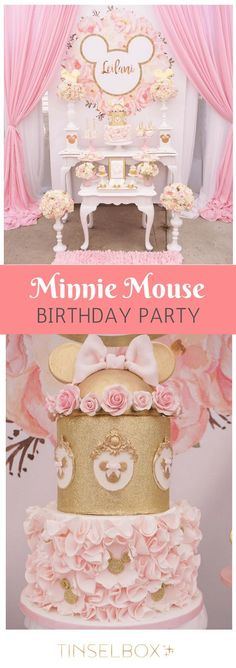 This Minnie Mouse birthday party is pink and gold with floral accents and Disney ears. Crazy cute 1st birthday inspiration. via @tinselbox_