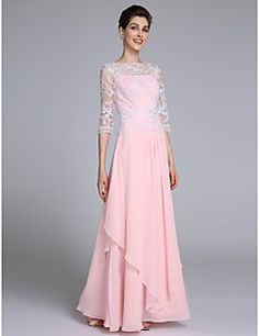 2017 Lanting Bride® Sheath / Column Mother of the Bride Dress Floor-length Half Sleeve Chiffon with Lace / Ruffles – USD $ 400.00