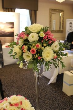 Tall Vase Table Display Tall vase with pale blush pink roses ...