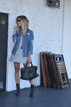 Platform Boats Outfit Skirt 21 Ideas For 2019 Casual Outfits, Cute Outfits, Fashion Outfits, Combat Boot Outfits, Combat Boots, Look Street Style, Winter Mode, Denim Outfit, Spring Outfits