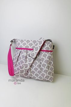 Stella Diaper Bag Large READY to SHIP Grey Billow by marandalee grey pink hot pink diaper bag nappy bag baby shower gift