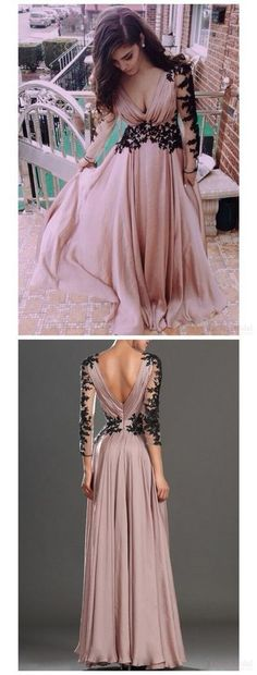 Blush Pink Prom Dresses,Vintage Prom Gown,Women Boho Long Sleeves Plus Size Evening Gowns,V neckline Party Dress,Black Lace Evening Dress by DestinyDress, $187.39 USD