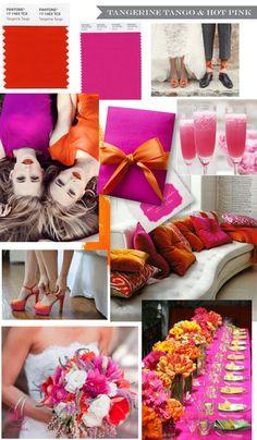 Tangerine Tango & Hot Pink Wedding trend - super summery!