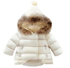 d92b12496 Lanbaosi Baby Girls Cute Fur Hoodie Puffer Jacket Warm Snow Coat Outerwear  White 1824 Months *