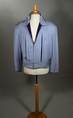 TWO TONE BLUE FLECK PRINT GABARDINE 50's VINTAGE ZIP FRONT JACKET - REVERSIBLE TO NAVY GABARDINE