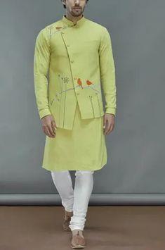 Buy Linen Bundi Kurta Set by Manish Nagdeo - Men at Aza Fashions Gents Kurta Design, Kurta Neck Design, Kurta Cotton, Cotton Silk, Royal Fashion, Mens Fashion, Mens Ethnic Wear, Kurta Style, Waistcoat Men