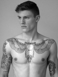 Chest Tattoo - Winged Hour Glass