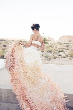 Custom ombré wedding gown by Maurizio Galante.