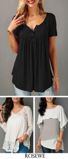 Black Button Detail Short Sleeve Tops.#tshirt #top#womensfashion#tshirt