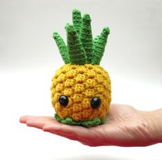 I would crochet this, but I suck at it Pineapple amigurumi pattern kawaii pineapple fruit by hookabee