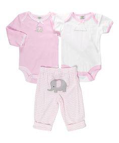 Look at this #zulilyfind! Pink & White 'Little Sweetheart' Elephant Bodysuit Set - Infant by Babyworks #zulilyfinds