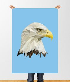 Geometric Eagle Print, Low Poly Printable Download, Bird of Prey Wall Art, American Bird, Geometric Wall Art, Bald Eagle Poster, Home Decor by tothewoodside on Etsy