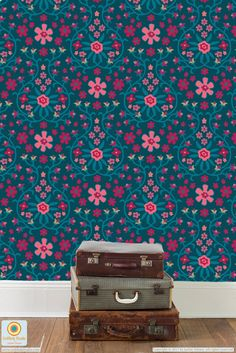 """""""Flower Power-Traditional Blue"""" surface pattern design from UnBlink Studio by Jackie Tahara"""