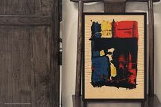 Abstract Art Archival Print Red, Yellow, Blue & Black Grungy Raw Portrait in Primary Colors Gothic Dark Wall, Home or Office Decor Unframed by JackieGomezFineArt on Etsy