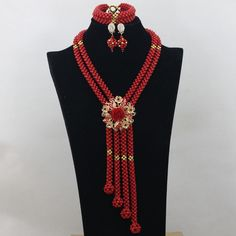 Big Full Nigerian Wedding Beads Statement Necklace for Women Bridal Jewelry Sets Natural Coral Jewelry Set Free Shipping ABK779