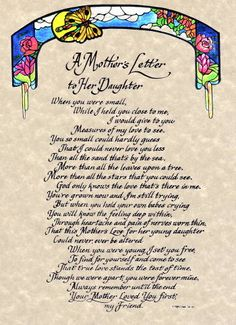 A Mother's Letter to her daughter Original Calligraphy Piece enlarged view