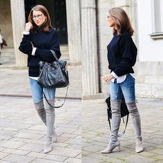 Items in this look: Zara Oversized Sweater, Stuart Weitzman Over The Knee Boots, Zara Blue Skinny Jeans, Balenciaga Bag