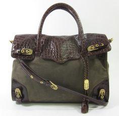 REBECCA MINKOFF Brown Canvas Embossed Leather Trim Tote Shoulder Handbag at www.ShopLindasStuff.com