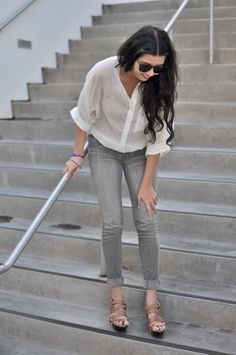 a blouse and a jean is all you need. I am loving the gray jeans this season!