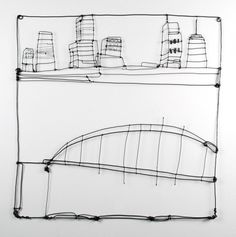 """BARBARA GILHOOLY  wire drawing Cityscape II 