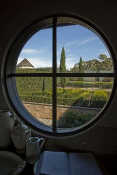 I love round windows! Arched Windows, House Windows, Windows And Doors, Looking Out The Window, Through The Looking Glass, Window View, Open Window, Ventana Windows, Cool Doors