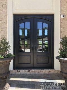 Traditional Doors by Clark Hall Doors Double Front Entry Doors, Double Doors Exterior, Front Doors With Windows, Unique Front Doors, Best Front Doors, Black Front Doors, Modern Entrance Door, House Entrance, Entrance Ways