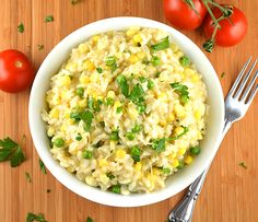 Vegan Sweet Summer Corn Risotto | potluck at ohmyveggies.com