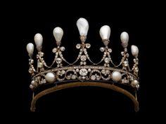 Diadem aus Gold, Silber, Diamanten und Naturperlen – Deutsch, um 1830. Aus dem Besitz von Johann Georg von Sachsen (1869-1938), Königshaus Hannover.