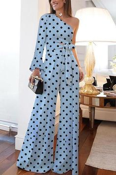 Product Fashion Pure Colour Off-Shoulder Polka Dot Jumpsuit Brand Name Dreamlipshop SKU Gender Women Style Casual/Elegant/Modern Type Jumpsuit Material Polyester Fiber Decoration Polka Dot PleaseNote: All dimensions are measured manually with Off Shoulder Jumpsuit, Jumpsuit With Sleeves, Jumpsuit Outfit, Black Jumpsuit, Casual Jumpsuit, Halter Jumpsuit, Look Fashion, Fashion Outfits, Womens Fashion