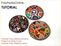 Free Polymer Clay Tutorials | PolyPediaOnline Vol. 22 - How to create millefiori buttons and paper ...