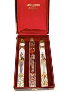 1920s Czechoslovakian Ahmed Soliman perfume bottle set