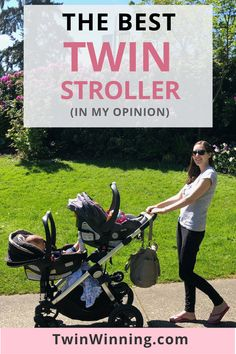 The best twin stroller recap from Twin Winning.  If you're pregnant with twins, you're probably on the hunt for twin baby gear, including the best double stroller.  I've done the research and recapped the best stroller for twins (in my opinion).  Double stroller side by side, double stroller front to back, double stroller for infant and toddler - I've used them all.  Even double stroller hacks!  Check out my favorite double stroller for twins. #twins #twinwinning #twinmom #twinmomblog…