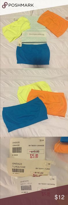 <Impeccable Pig> Bandeau: 3-Set ⭐️Neon Yellow, Turquoise, and Orange⭐️Bandeau's from the Impeccable Pig🐷! Each one is is a ONE SIZE. These are super comfy and great to wear under thin tops! I would really like to sell all three together. Offers welcome! Impeccable Pig Intimates & Sleepwear Bandeaus