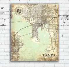 TAMPA FL Canvas Print Florida Tampa Fl Vintage map Tampa fl City Florida Vintage Wall Art oversized large poster retro old wall art map