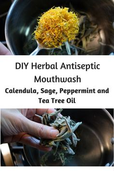 Most commercial mouthwashes contain artificial colors, flavors, fragrances, strong chemicals, and alcohol. Making your own antiseptic mouthwash with common herbs is easier than you think. The herbs in this recipe have antimicrobial properties that help kill germs naturally, reduce inflammation, and the calendula supports healthy gum tissue. This simple homemade herbal mouthwash only uses five ingredients.