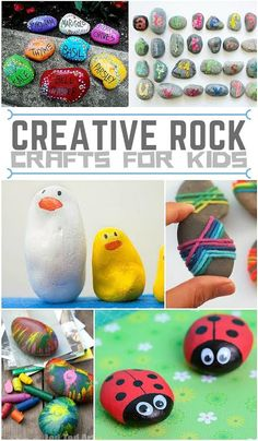 Let your kids rock craft time with these fun and creative rock crafts for kids. Cute Kids Crafts, Craft Projects For Kids, Craft Activities For Kids, Diy For Kids, Craft Ideas, Summer Activities, Kid Crafts, Garden Projects, Project Ideas