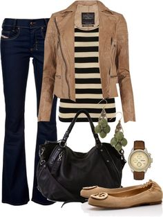 Get Inspired by Fashion: Casual Outfits | Striped Shirt find more women fashion on www.misspool.com