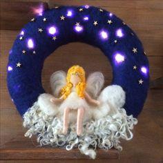 Felt Crafts, Christmas Crafts, Christmas Decorations, Wet Felting, Needle Felting, Ballerina Nursery, Felt Angel, Felt Pictures, Felt Wreath