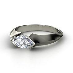 Marquise Diamond Sterling Silver Ring   Montespan Ring   Gemvara