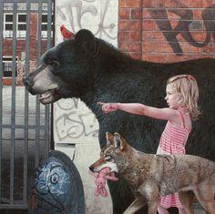 Hyper Realistic Murals of Children and Animals Exploring Urban Ruins - BlazePress