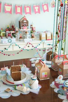 All set up for a gingerbread house party!  See more party ideas at CatchMyParty.com!  #partyideas  #gingerbread