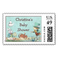 Mad Hatter's Tea Party Wonderland Baby Shower Postage Stamp